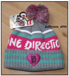 Girls 1D One Direction Winter Pom Pom Hat Logo Official Licenced Beanie Hat NEW