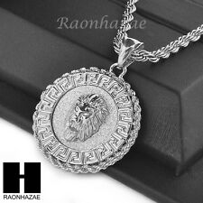 """MENS STAINLESS STEEL LION FACE MEDALLION PENDANT 24"""" ROPE CHAIN NECKLACE NP012"""