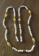 "COSTUME JEWELRY GOLD AND IVORY TONE 46"" ROPE NECKLACE"