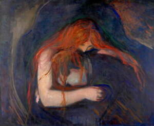 Edvard Munch Vampire Poster Reproduction Paintings Giclee Canvas Print
