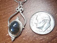 Labradorite Necklace Beautifully Accented Cabochon 925 Sterling Silver 694de