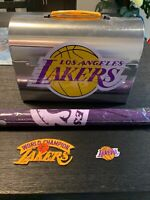 LA Los Angeles Lakers NBA Silver Tin Metal Lunch Box Pail, Patches & Flag Bundle