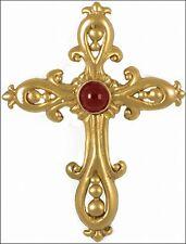 Fleur-De-Lys Victorian Vermeil Cross - Garnet Cabochons