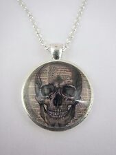 Vintage Skull Face on Text Silver Plated Necklace New in Gift Bag Halloween