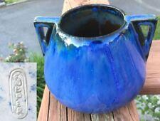 Antique FULPER Art Pottery VASE Dual Handles Blue Black Flambe - Arts & Crafts