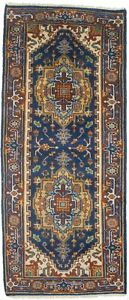 3X6 Navy Blue Heriz Serapi Geometric Oriental Runner Rug Kitchen Carpet 2'7X6
