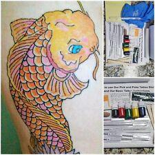 Color Hand Poke Tattoo Kit, hand Poke Too Stick color tattoo stick 10 needles, 5