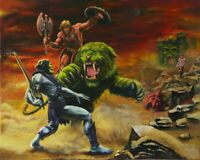 """MASTERS OF THE UNIVERSE HE-MAN BATTLECAT SKELETOR 13""""X19"""" SIZE POSTER PRINT #53"""