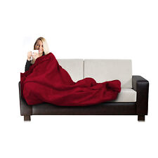 Electric Heated Throw Red Over Under Blanket Fleece Bed Washable Soft Mattress