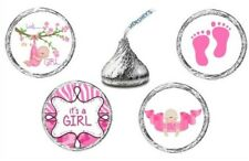108 IT'S A GIRL BABY SHOWER HERSHEY KISS STICKERS FAVORS PARTY PINK LABELS