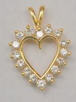 0.96 ctw Diamond Heart Pendant - 14K Solid Yellow Gold