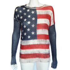 SKULL CASHMERE Red White Blue USA Flag Pop Art Stars Pullover Sweater XS - 8650