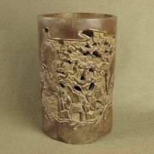 "6.9""BIG CARVED WITH FIGURES PINE IN OLD OPENWORK BAMBOO BRUSH POT"