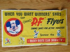50s P-F FLYERS Canvas Shoes DONALD DUCK PLUTO MICKEY MOUSE Advertising Banner Y
