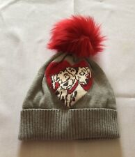 S M  Girl BABY GAP Disney Gray Red 101 DALMATIONS Pom Hat Beanie Sweater Love