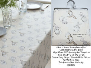 🐇 Next Easter Bunny Rabbit Hare Wipe Clean Small PVC Table Cover Cream Grey Vtg