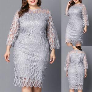 Plus Size Womens Lace Midi Dress Ladies Evening Cocktail Formal Party Dress UK
