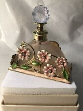 New ListingPink Glass Perfume With Metal Enameled Flowers