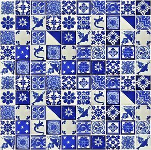 """100 2X2""""  Mexican Ceramic Tiles  Folk Art Mixed Dessings  Blue and white"""