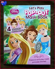 DISNEY PRINCESS POP-OUT MASK Story BOOK / 4 Character Masks BELLE CINDERELLA +