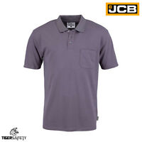 JCB Grey Essential Heavyweight Mens Short Sleeve Polo Shirt Work Top T-Shirt New