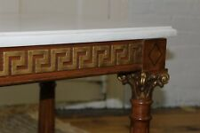 Mid Century Marble Top Long Coffee Table/Bench Greek Key Corinthian Column 72""