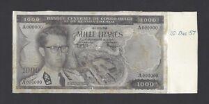 Belgian Congo Face 1000 Francs 1-03-1958 Unissued Photograph Proof