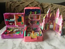 Polly Pocket 3 Piece Lot Castle, Island House With Dolls