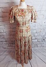 vintage 70s handmade dress Size 8 beige brown floral check prairie style country