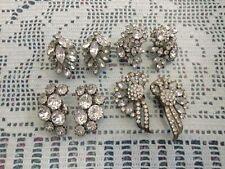 Elegant Rhinestone Vintage Clip On Earrings Pre 1970's