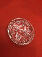 "Vintage Clear Glass Star Imprinted Trinket Dish - 3 3/4"""