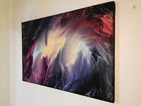 Peinture, tableau a l`encaustique, abstrait format 61/40 cm