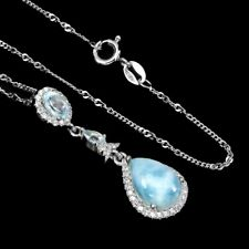 Unheated Pear Blue Larimar 12x8mm Sky Blue Topaz Cz 925 Sterling Silver Necklace