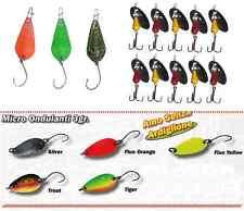 kit artificiali spinning trota lago 8 ondulanti + 10 cucchiaini trout area game