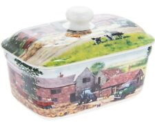 China Butter Dish With Bell Top Lid Farmyard Farm Scene Farmhouse & Tractor