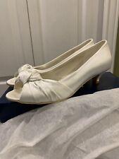Women's Peep Toe Low Heel White Bridal Wedding Size 10, 1 Inch Heel