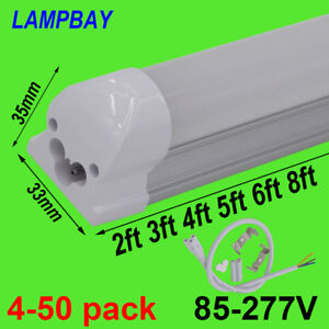 LED Tube Light 2ft 3ft 4ft 5ft 6ft 8ft T8 Integrated Bulb Fixture Linear Lamp