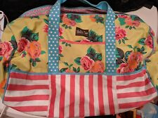 Matilda Jane Weekender Tote Bag Duffel Yellow Blue Floral Roses Pink Stripes