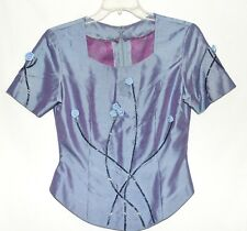 Lavender & Purple Beaded with 3 Dimensional Roses Womens Blouse Top Size S