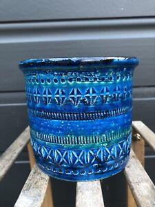 BITOSSI RIMINI BLUE Flower Pot Italian Ceramic Italy Pottery ALDO LONDI 10.5cm H