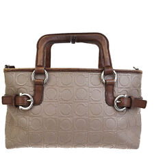 Auth SALVATORE FERRAGAMO Gancini Tote Hand Bag PVC Leather Brown Italy 06B866