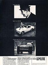 1965 Austin Healey Sprite and Race Original Advertisement Print Art Car Ad J763