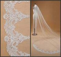New White/ivory 1T Cathedral Lace Edge Elegant Long Wedding Bridal Veil