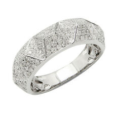14K WHITE GOLD DIAMOND SPIKE PYRAMID WEDDING BAND COCKTAIL STATEMENT RING