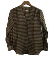 Steven Alan Women's Size S Striped  Blouse Silk Blend Tunic Long Sleeve Shirt