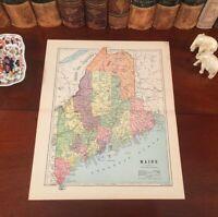 Original 1885 Antique Map MAINE Portland Bangor Auburn Lewiston Brewer Bath Saco