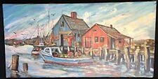 Vintage Signed Oil Painting Fishermen Scene on Dock K Baker Katherine C Baker
