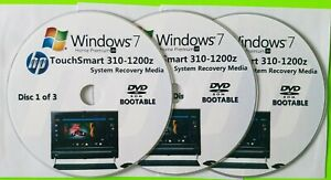 HP TouchSmart 310-1200z Factory Recovery Media 3-Discs / Windows 7 Home 64-bit