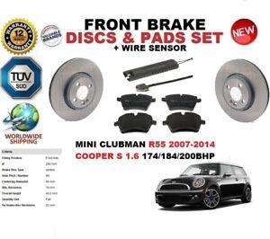 FOR MINI CLUBMAN EST COOPER S R55 07-14 FRONT BRAKE DISC SET + PADS KIT + SENSOR