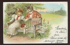 CATS  as courting couple 1902 artist drawn u/b PPC